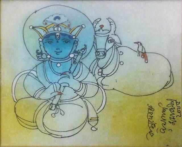 "Ramananda Bandyopadhyay, 'Vasudev, Mixed Media on Paper, Blue, Green Colours by Modern Artist ""In Stock""', 2005, Painting, Mixed Media on Paper, Gallery Kolkata"