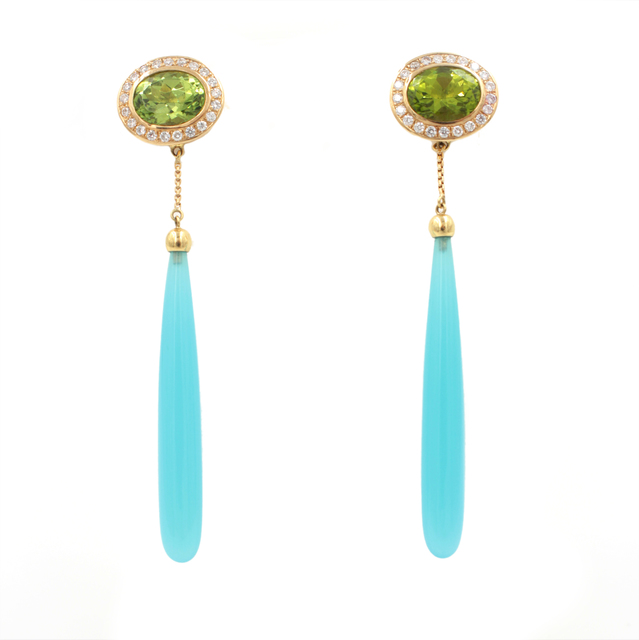 """, 'Peridot Blue Chalcedony Diamond Gold """"Spring Time"""" Drop Earrings,' , form & concept"""