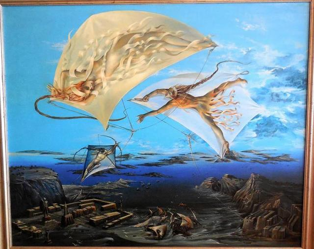 Peter Kolin, 'Atlantis, Large Surrealist Oil Painting. Viennese Fantastic Realism', 1980-1989, Lions Gallery