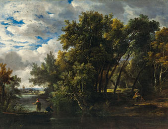 Wooded Landscape with Figures by a Stream