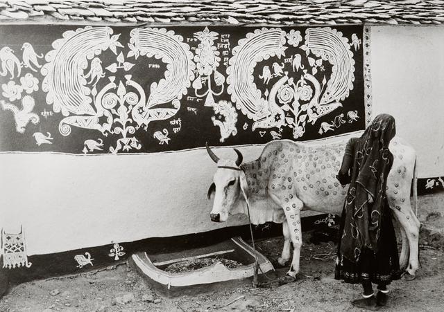 , 'A Meena (tribal) woman decorating the bullock for 'Gordhan' festival, Rajasthan,' 1969, Tasveer