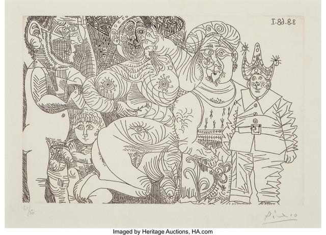 Pablo Picasso, 'Femme au Chapeau et à oeillet, avec homme enturbanne, clown, putto at spectateur', 1968, Heritage Auctions