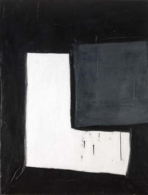 , 'White L on Black Ground with Grey Rectangle,' 1964, Osborne Samuel