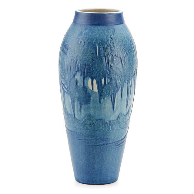 Anna Frances Simpson, 'Newcomb College, Tall Scenic Vase With Live Oaks,  Spanish Moss,  And Full Moon, New Orleans, LA', 1924, Design/Decorative Art, Rago/Wright