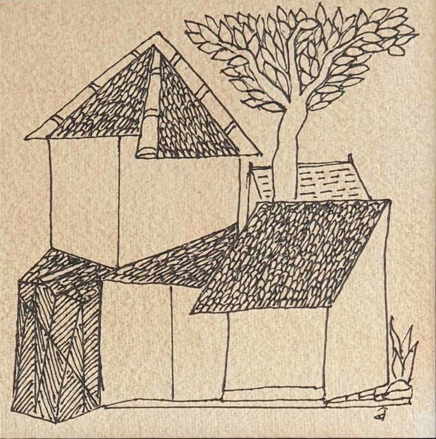 ", 'House, Ink on Paper by Indian Padmashree Artist Badri Narayan ""In Stock"",' 2008, Gallery Kolkata"