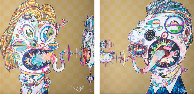 Takashi Murakami, 'Homage to Francis Bacon (Study for Head of Isabel Rawsthorne and George Dyer): two plates', 2016, Phillips