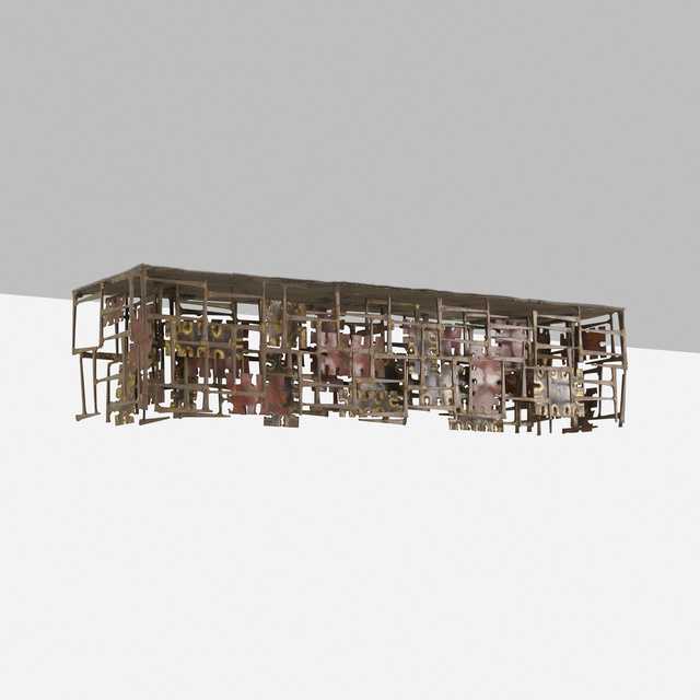 Silas Seandel, 'wall-mounted console table', c. 1966, Design/Decorative Art, Copper, brass, bronze, welded steel nails, Rago/Wright