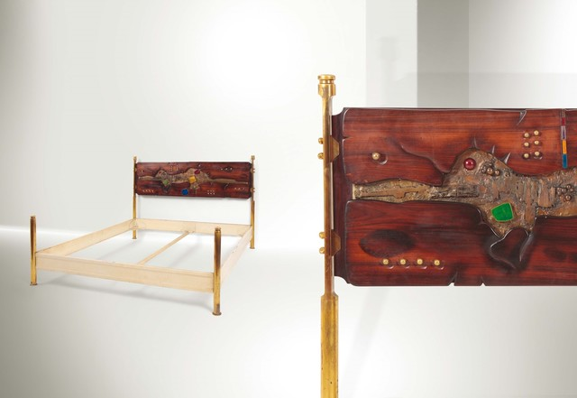 Arnaldo Pomodoro, 'a bed with a lacquered metal structure and brass stands', 1962, Cambi