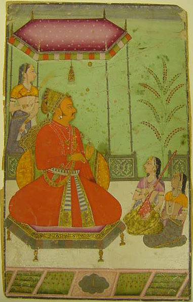 , 'Enthroned Maharaja Abhai Singh (1702-49) with Attendants,' 1725-1750, Newark Museum