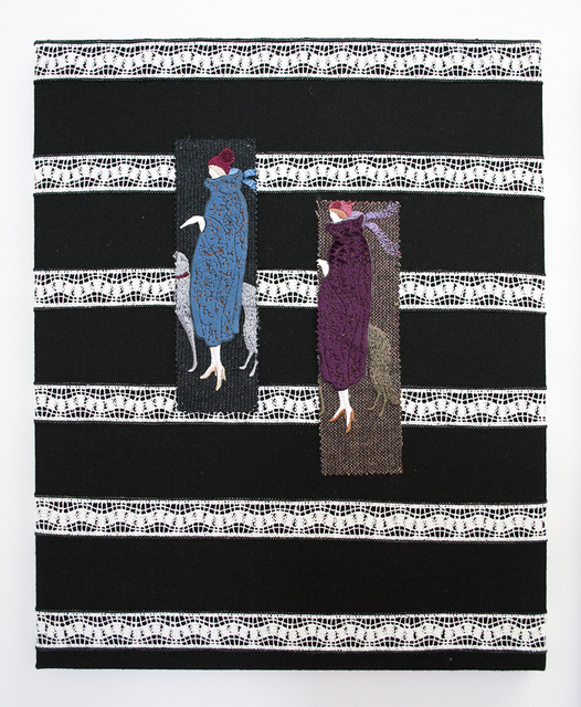 , 'Untitled (NFS28- Blue and Violet Winter Coat with Greyhound Dogs, on Black Background with White Embroidery Stripes),' 2018, VI, VII