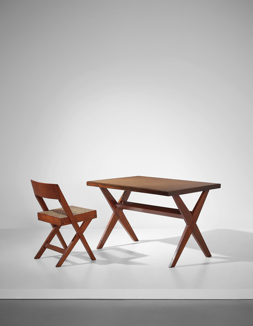Pierre Jeanneret, ''Reading table', model no. PJ-TA-09-B, and 'Cane seat wood back' chair, model no. PJ-SI-51-A, designed for the High Court, Punjab University Library and Central State Library, Chandigarh', 1959-1962, Phillips