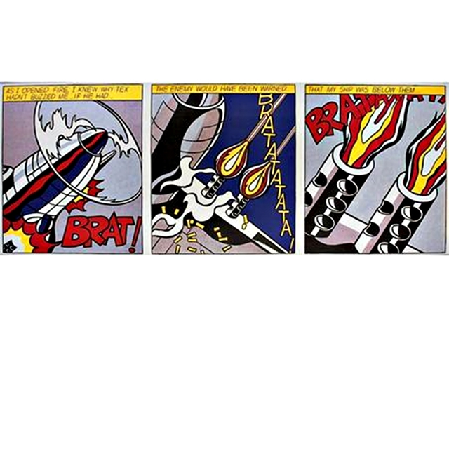 Roy Lichtenstein, 'As I Opened Fire Triptych (Corlett App.5)', 1964, Print, Set of three (3) Color Offset Lithographs on wove paper. Museum stamped verso. Unframed, Alpha 137 Gallery