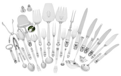 Acorn / Kongemønster. Sterling silver cutlery.