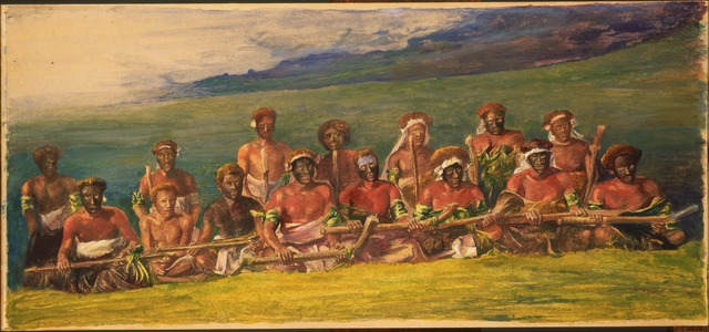 John La Farge, 'Chiefs and Performers in War Dance, Fiji', 1891, Drawing, Collage or other Work on Paper, Watercolor and gouache on illustration board (paper), Phillips Collection