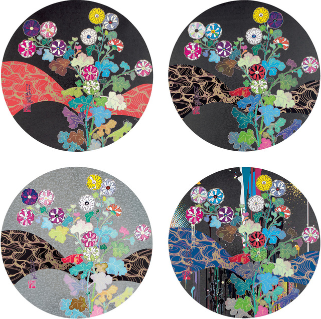 Takashi Murakami, 'Kansei: Fresh blood; Kansei: Wildflowers Glowing in the Night; Korin: Flowers; and Korin: Stellar River in the Heavens', 2014-15, Phillips