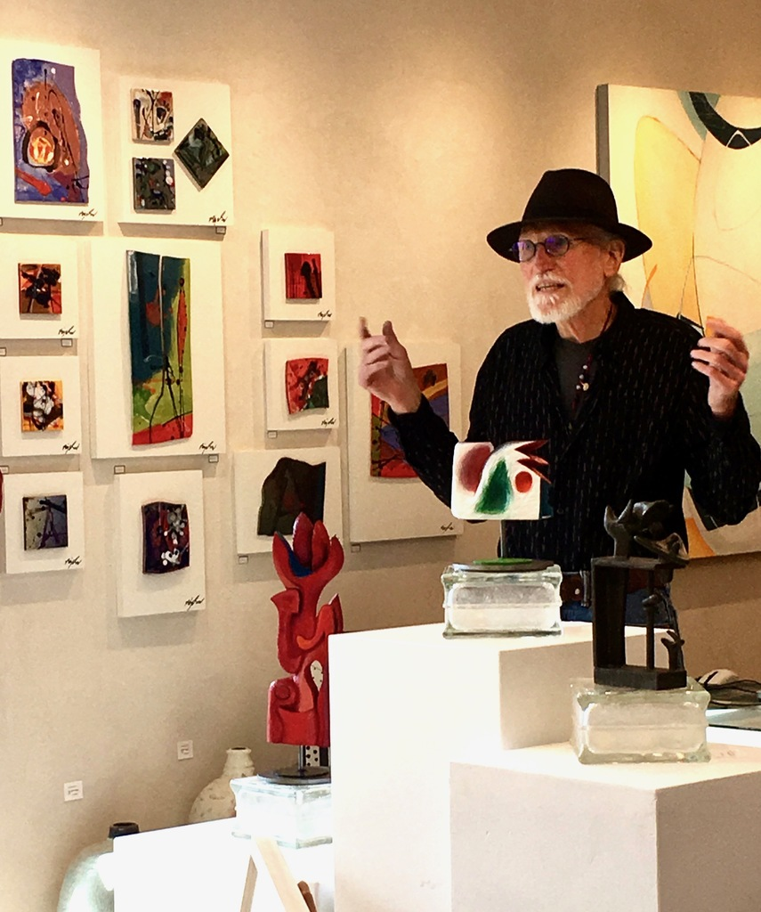 """Artist Robert Bigelow giving a talk during the opening reception on September 22, 2018, about Creative Frequencies... """"When employing automatism or intuition as the mechanism to create art we have to clear our head of all preconceived notions all together. We have to become a willing partner in this tacit agreement of non-interference as the image is extracted from the beyond."""