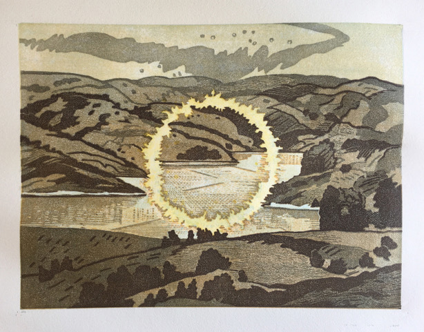 Donna Westerman, 'Ring of Fire/ Briones Reservoir', 2020, Print, Multiple plate reduction woodcut, Kala Art Institute