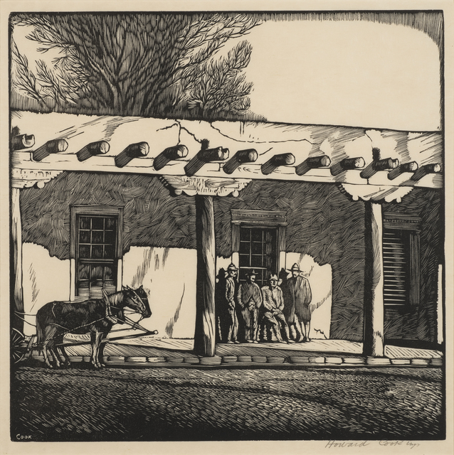 Howard N. Cook, 'Governor's Palace (El Palacio Real)', 1926, Print, Woodcut on paper, Aaron Payne Fine Art