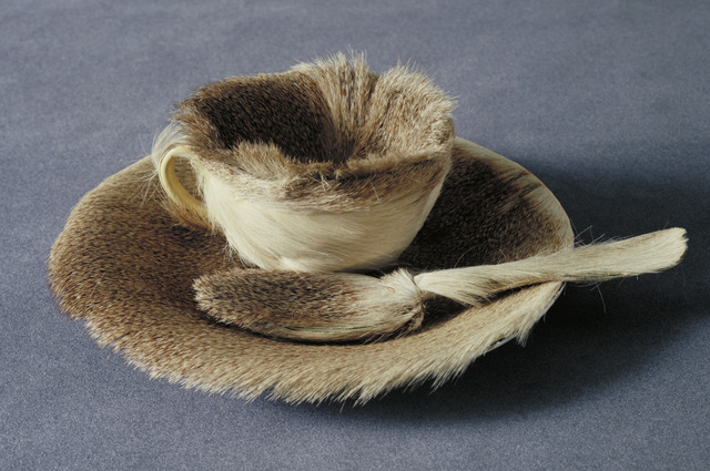 """Méret Oppenheim, 'Object', Paris-1936, Sculpture, Fur-covered cup, saucer, and spoon, cup 4 3/8"""" (10.9 cm) in diameter; saucer 9 3/8"""" (23.7 cm) in diameter; spoon 8"""" (20.2 cm) long, overall height 2 7/8, The Museum of Modern Art"""
