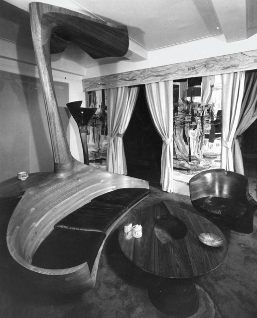 "Wendell Castle, 'Unique ""Pedestal"" chair', 1967, Design/Decorative Art, Stack-laminated walnut., Phillips"