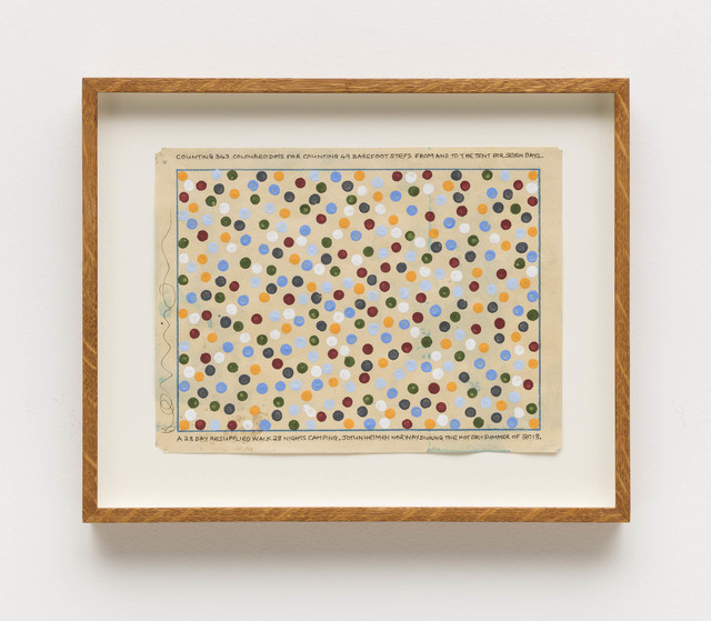 , 'Counting 343 coloured dots for counting 49 barefoot steps from and to the tent for seven days. A 28 day resupplied walk 28 nights camping. Jotunheimen Norway,' 2018, Bergamin & Gomide
