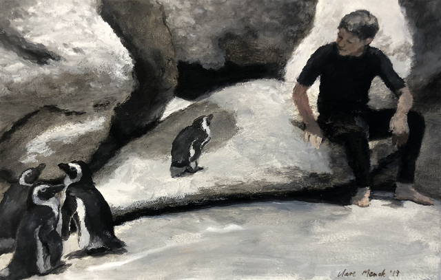 Clare Menck, 'Boy conversing with penguins', 2019, 99 Loop Gallery