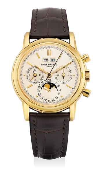 Patek Philippe, 'A very fine and rare yellow gold perpetual calendar chronograph wristwatch with moon phases, 24 hours, leap year indicator and sapphire crystal case back', 1987, Fashion Design and Wearable Art, 18K yellow gold, Phillips
