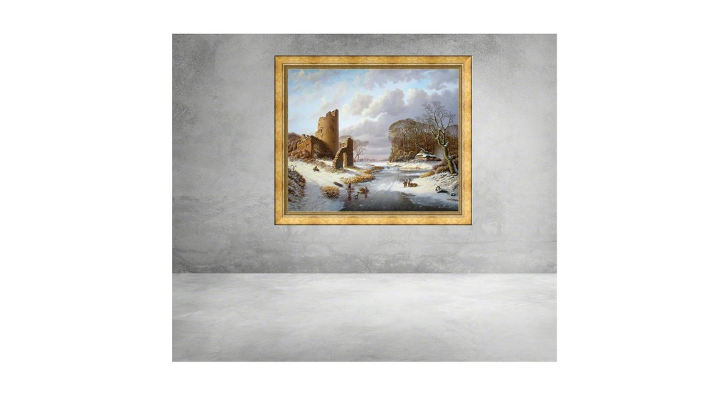 Winterlandscape with ruins and figures