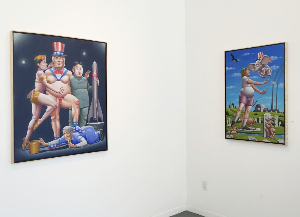 Gallery view, some of Mac Mechem's Trump inspired works.