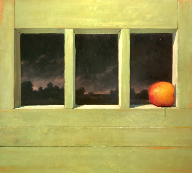 Eric Forstmann, 'The Overripe Peach Looked Wistfully Toward the City and Beyond, Knowing its Best Days Had Passed', 2020, Painting, Oil on board, Eckert Fine Art