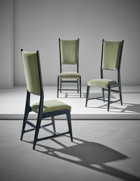 Unique set of three chairs, designed for the Dulciora offices, Milan