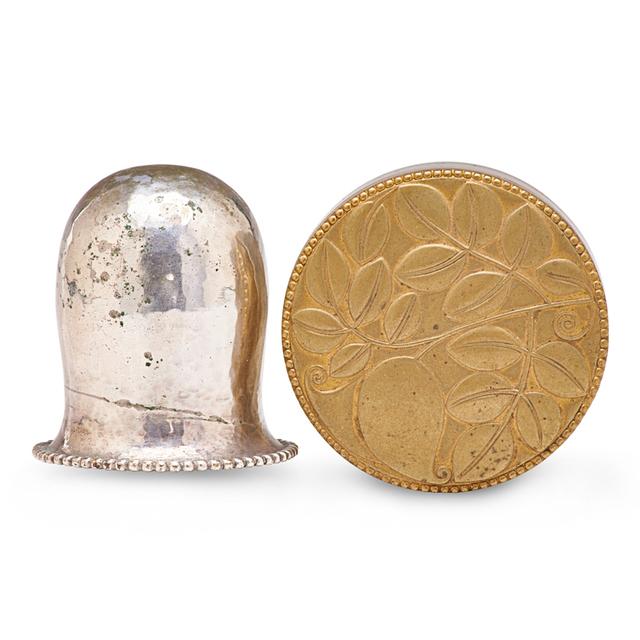 Josef Hoffmann, 'Lidded Box And Bottle Top, Austria', 1920s, Design/Decorative Art, Brass, Silverplate, Cork, Rago/Wright