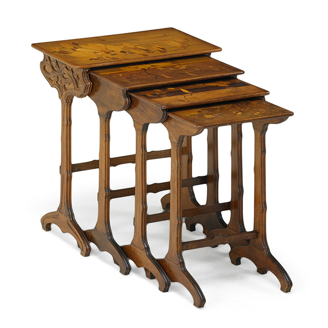 Galle, 'Four Marquetry Nesting Tables, France', ca. 1900, Design/Decorative Art, Beech Mixed Wood Inlay, Rago/Wright