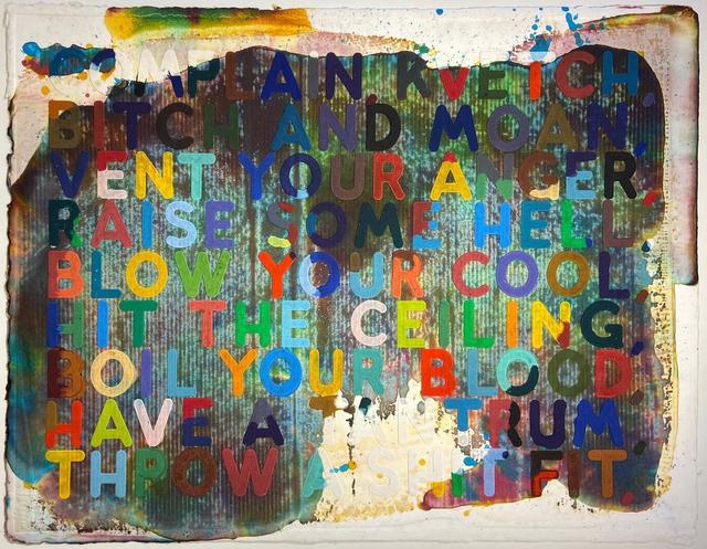 Mel Bochner, 'Complain/Kvetch', 2002, Print, Monoprint with collage, engraving, embossing and oil paint in colors on handmade and hand-dyed Twinrocker paper, Hamilton-Selway Fine Art