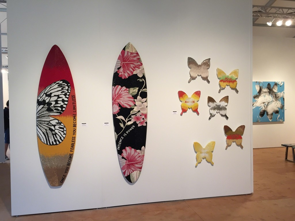 Beaded surfboards and butterflies by Stephanie Hirsch