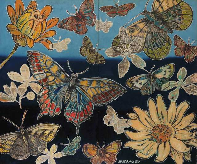 , 'Butterflies and Flowers (Diptych),' 2015, Caldwell Snyder Gallery