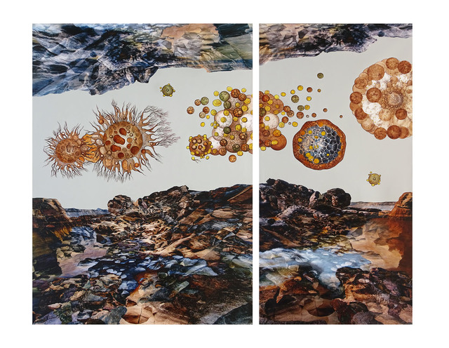 Sonia Mehra Chawla, 'UNCHARTED TERRAINS', 2015, Mixed Media, ACRYLIC, OIL, GLAZES AND ARCHIVAL PRINT ON CANVAS, Exhibit 320
