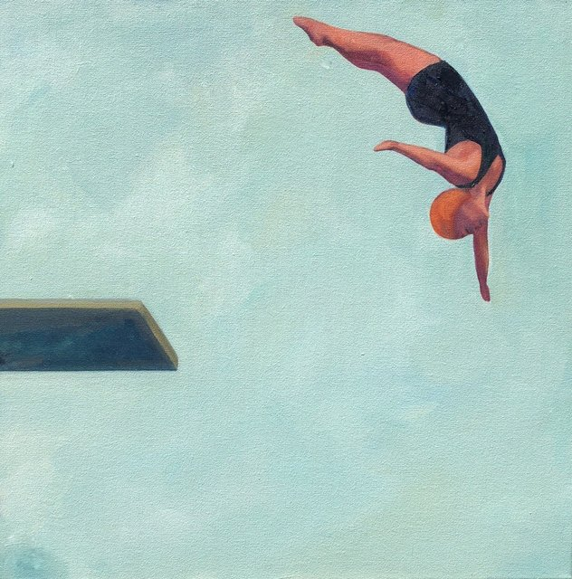 , '''Reaching High'' Oil painting of a women diving with blue sky behind,' 2019, Eisenhauer Gallery
