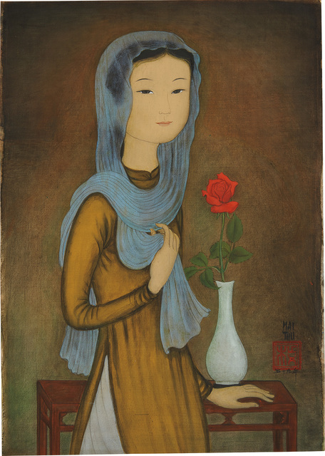Mai Trung Thứ, 'La Rose Rouge (J. femme à l'écharpe) [The Red Rose (Young Lady with Scarf)]', 1959, Phillips