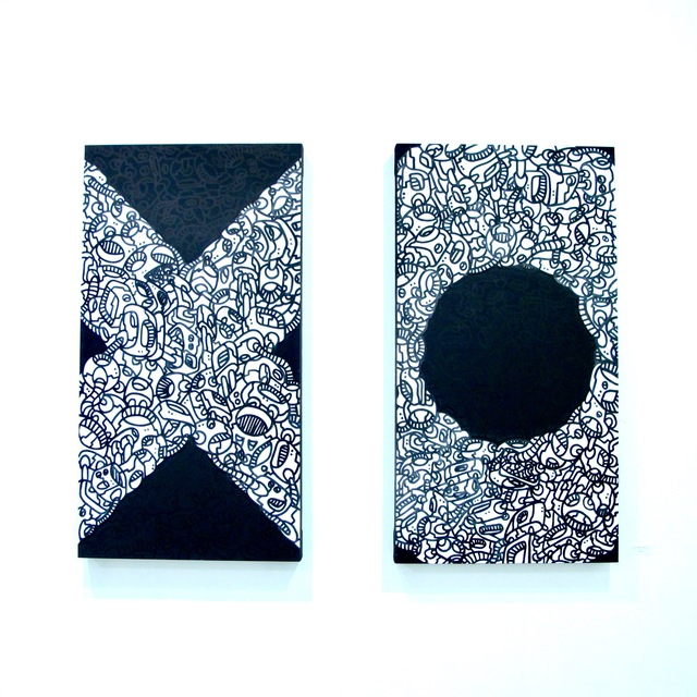", 'XO (diptych 2x(60""x 32""x 4""),' 2013, Catherine Ahnell Gallery"