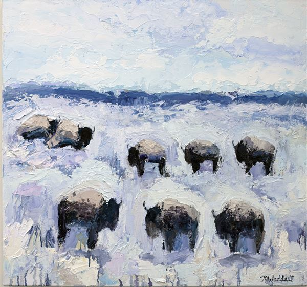 Theodore Waddell, 'Winter Buffalo #2', 2018, Painting, Oil and encaustic on canvas, Gerald Peters Gallery