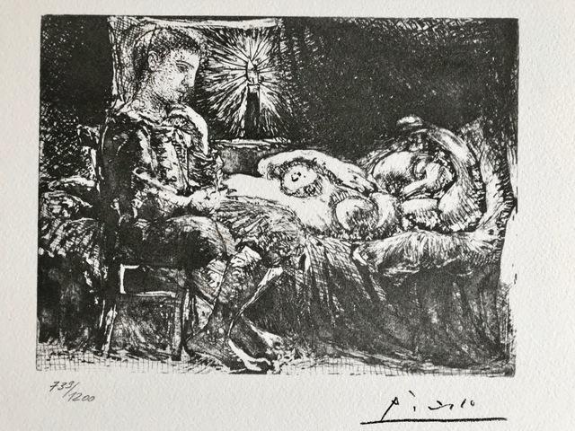 Pablo Picasso, 'Garçon pensif veillant une dormeuse à la lumière d'une chandelle (Suite Vollard Planche XXVI)', 1973, ByNewArt