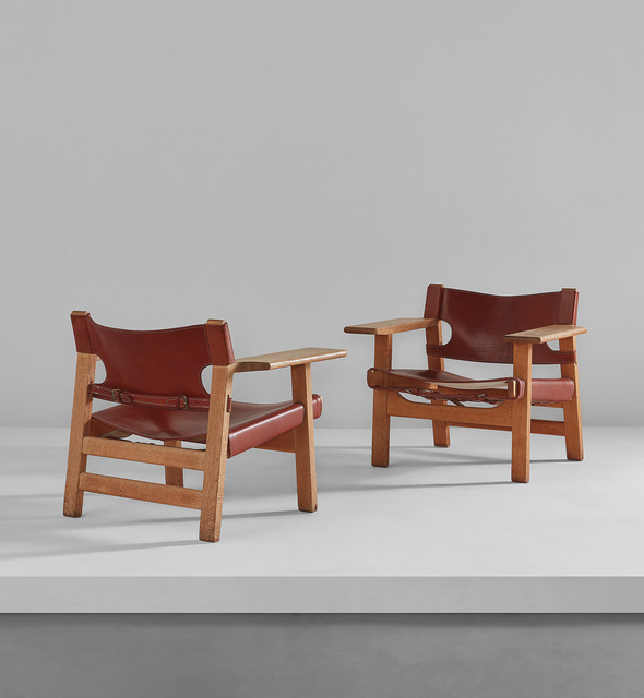 "Börge Mogensen, 'Pair of ""Spanish"" chairs', circa 1958, Design/Decorative Art, Oak, leather, brass, Phillips"