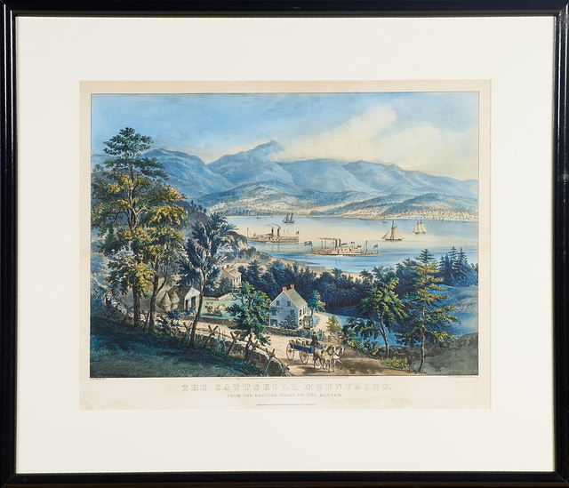 """Currier & Ives, '""""The Catskill Mountains From The Eastern Shore Of The Hudson""""', 1860, Print, Hand colored lithograph, Rago/Wright"""
