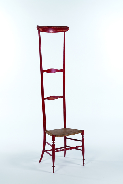 Travail Italien, 'Chiavarina chair with high back in red painted wood', vers 1950, Leclere