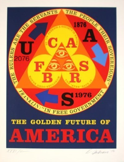 Robert Indiana, 'The Golden Future of America', 1976, Print, Color etching, aquatint and carborundum, Bethesda Fine Art