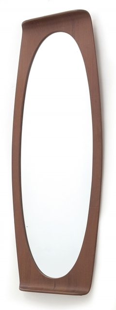 Franco Campo and Carlo Graffi, 'A wall mirror 'Lucky' for HOME', around 1958, Design/Decorative Art, Curved teak plywood silver crystal., Aste Boetto