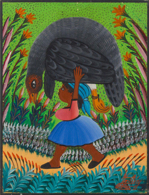 Jacques-Richard Chery, 'Child with guinea fowl', ca. '80, Painting, Oil on board, Haiti Collection Privee