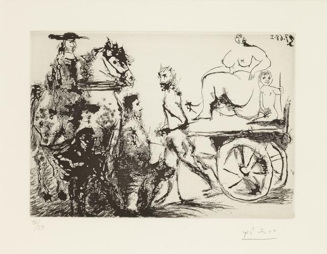 , 'Don Quichotte, Sancho et un 'Mousquetaire'Regardant Passer Dulcinée sur une CharretteTirée Par un Homme Masqué, 3.7.68 I,' 1968, Alan Cristea Gallery