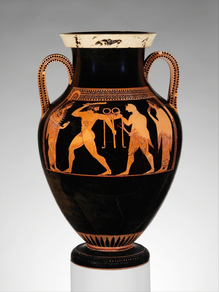 red figure amphora with musical scene